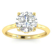 0.73ct D-si1 Diamond Round Engagement Ring 18k Yellow Gold Any Size