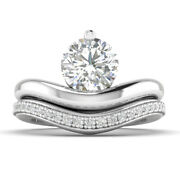 0.98ct D-si1 Diamond Round Engagement Ring 18k White Gold Any Size