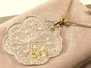 Lalique Ombelles And Butterfly Crystal And Gold Plated Chain Pendant Necklace /rare