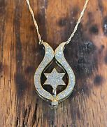 Star Of David In Jesus Fish Necklace 43 Natural Diamonds 14k Gold Made In Israel