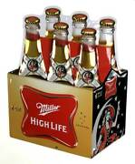 Ande Rooney Embossed Miller High Life Die-cut Carton Tin Sign - 11.5 X 15 In.