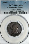 1806 Half Cent Large 6 Stems That Pcgs Graded Vf Detail - Cleaned 41094766