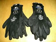 4 Pair Wells Lamont Cold Weather Grips Latex Coated Work Gloves Large Black