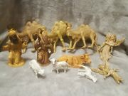 Vintage 11 Pc Nativity Plastic Standing Camel Sheep Cow Figure Italy