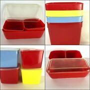 1960s Plastic Red Lustro-ware Refrigerator Set Missing Lids + Neatway Containers