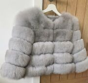 Luxary White Grey Real Bobble Fur Coat