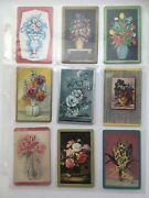 18 Vintage Flowers In Vases Lot Single Swap Playing Trading Cards 1940's 1950's