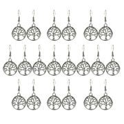 10 Pairs Antique Silver Detailed Tree Of Life Round Dangle Hook Earrings