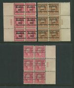 Lot Of 3 498 And 503 Washington Precancelled Plate Blocks Of 6 Stamps 503-pb A1