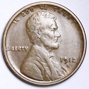 1912-s Lincoln Wheat Cent Penny Choice Au Free Shipping E165 Gej