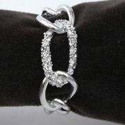 Lobjet Platinum Chain Napkin Rings With White Crystals Link Set Of 4