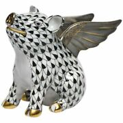 Herend Figurine When Pigs Fly Black Fishnet