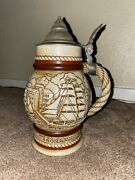 Lidded Beer Stein Vintage 1977 Avon Collectible Sailing Ships 9 Tall