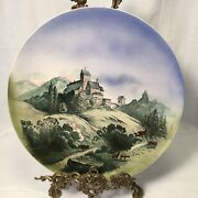 """19th C Villeroy And Boch Mettlach Wall Plate Charger 2164 15"""" German Castle Stags"""