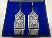 Big Antique Soviet Russian Earrings Sterling Silver 875 Womenand039s Jewelry Fashion