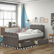 Twin Size Platform Bed With Drawers,vintage Fence-shaped Headboard And Footboard