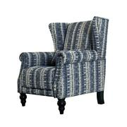Living Room Wingback Chair Flared Arm Striped Polyester Foam Fill Nailhead Trim