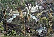 New-jersey - Water Fall Near Schooley Baths - Engraving From 19th Watercolored