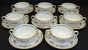 Spode England R2734 Set Of 8 Cream Soups W/ Saucers - Red Ribbon