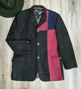 Vintage 1980and039s Mens Gianni Versace Color Block Wool Coat Size 50