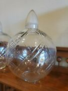 Antique Advertising Perfume Bottle Clear Glass Apothecary Jar Lid Stopper - Rare