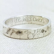 925 Silver Handmade Carved Flowers Plant Ring Women Wedding Jewelry Size 5-10