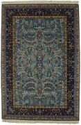 Thick Pile Teal Blue Hand-knotted 4x6 New Kirman Oriental Rug Home Decor Carpet