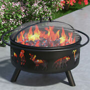 Regal Flame Wild Life 23 Portable Outdoor Fireplace Fire Pit Ring For Backyar...