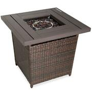 Outdoor Fire Pit Table Firepit Outdoor Heater Brown Wicker 28 Square 50k Btu
