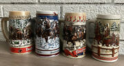 4 Budweiser Beer Clydesdale Steins Lot. 1986 1987 1989 Unknown Year.