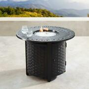 Propane Fire Pit Table Outdoor Heater W Beads Lid Covers Copper Finish 34 Round