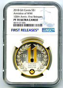2018 1 Canada Gilt Silver Dollar Armistice Wwi Ngc Pf70 Uc Proof First Releases