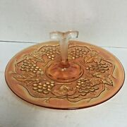 """Imperial Carnival Glass Marigold Grapes 10.5"""" Serving Tray Center Handle"""