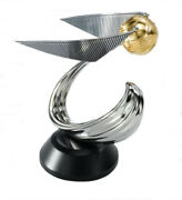 Official Harry Potter Golden Snitch Die Cast Metal Statue With Wooden Base