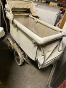 Vintage Antique Baby Stroller Carriage With Chrome Fenders