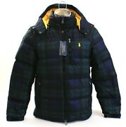 Polo Green Blue Plaid Down Filled Zip Front Hooded Jacket Men's Nwt