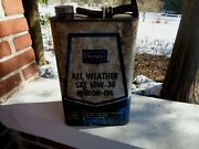 Vintage Sears All Weather Motor Oil Can Sears Roebuck Spout 2 1/2 Gallon Sign