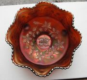 Butterfly + Berry Master Berry Bowl--old Ace...amethyst-scarce..vintage Carnival