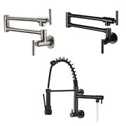 Wall Mounted Kitchen Sink Faucet Only Cold Swing Arm Pot Filler Faucet Modern