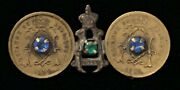 Rare Antique Royaume De Belgique 1914 Coin Pin Brooch W Accents Wwi Trench Art