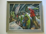 Antique Wpa Ashcan Style Oil Painting Industrial Ww2 Factory Buchholz Christmas