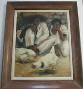 Wpa Style Portrait Painting American Signed Latin America Mexico Emerson