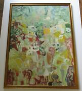 Large Abstract Painting Bright Bold Colorful Modernist Expressionist 1950and039s Art