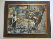 Vintage Antique Nautical Painting Industrial Fisherman Fishing Boat Ship Signed