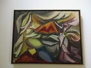 Vintage 1950's Oil Painting Jennings Signed Abstract Expressionism Modernism