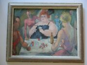 Frederic Buchholz Oil Painting Antique 1920and039s Circus Performers Backstage Poker