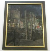 Vintage Antique Lamy Oil Painting French Paris Street Scene Night Lights Old Car