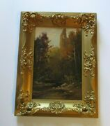 Dixon Signed Antique Early California Paintng Landscape Mill Valley Creek 1860and039s