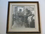 Very Rare Norman Rockwell Lithograph Hand Signed Limited Edition Child Old Toys