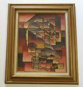 Vintage Medley Painting 1970and039s Retro Cubist Cubism Chess Game Surreal Modernism